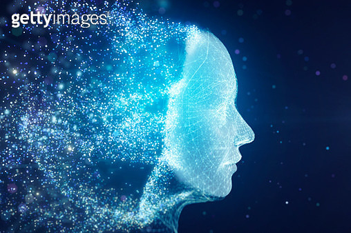 Particle data forming AI robot face - gettyimageskorea