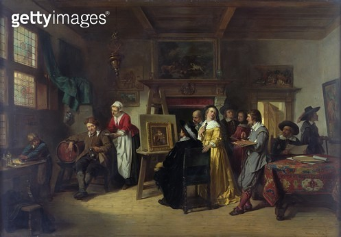 <b>Title</b> : Rembrandt (1606-69) visiting the studio of Gabriel Metsu (1629-87) (oil on canvas)<br><b>Medium</b> : oil on canvas<br><b>Location</b> : Newport Museum and Art Gallery, South Wales<br> - gettyimageskorea