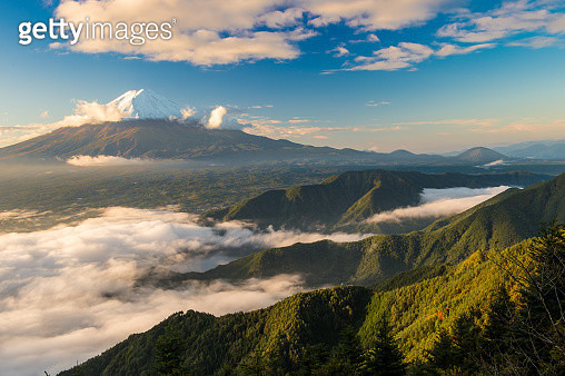 Fuji, sunny day of the first snow - gettyimageskorea