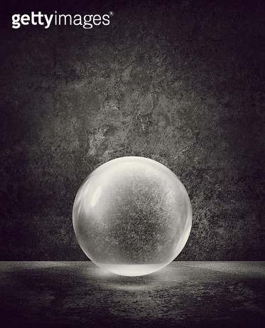 Transparent sphere or bubble against wall with peeling plaster - gettyimageskorea