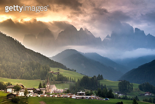 Funes small village in the mountain , european alps , dolomites Italy - gettyimageskorea