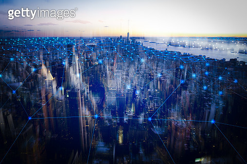 technology smart city with network communication internet of thing.  Internet concept of global business in New york, USA. - gettyimageskorea
