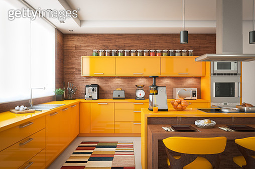 Digitally generated contemporary domestic kitchen with wooden elements, a large window with blinds on the left and the kitchen island with induction hob on the right. The floor is covered with large tiles.  The scene was rendered with professional shaders - gettyimageskorea