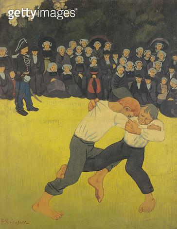 <b>Title</b> : The Wrestling Bretons, c.1893 (oil on canvas)<br><b>Medium</b> : oil on canvas<br><b>Location</b> : Musee d'Orsay, Paris, France<br> - gettyimageskorea
