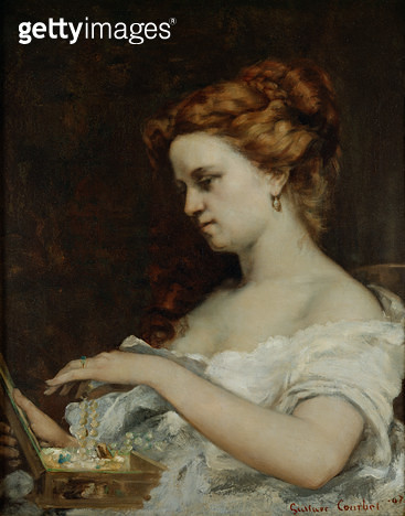 <b>Title</b> : A Woman with Jewellery, 1867 (oil on canvas)<br><b>Medium</b> : oil on canvas<br><b>Location</b> : Musee des Beaux-Arts, Caen, France<br> - gettyimageskorea