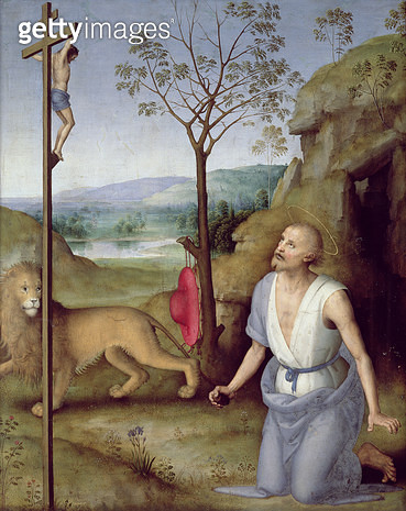 <b>Title</b> : St. Jerome in the Desert, c.1499-1502 (oil on panel)<br><b>Medium</b> : oil on panel<br><b>Location</b> : Musee des Beaux-Arts, Caen, France<br> - gettyimageskorea