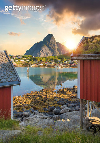 Norway Panoramic view of Lofoten Islands in Norway with sunset scenic - gettyimageskorea