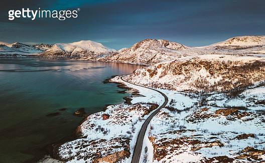aerial view of the lofoten coasline at dusk - gettyimageskorea
