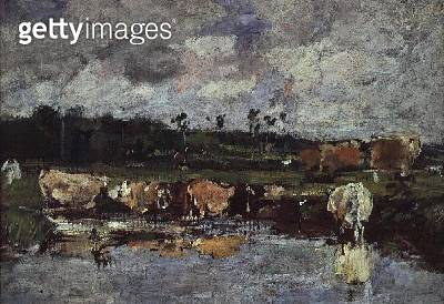 <b>Title</b> : Animals in a Pond. c.1881-88 (oil on canvas)<br><b>Medium</b> : oil on canvas<br><b>Location</b> : Musee des Beaux-Arts Andre Malraux, Le Havre, France<br> - gettyimageskorea