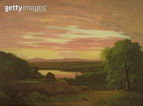 <b>Title</b> : Landscape, Sunset, 1838 (oil on canvas)<br><b>Medium</b> : oil on canvas<br><b>Location</b> : Collection of the New-York Historical Society, USA<br> - gettyimageskorea