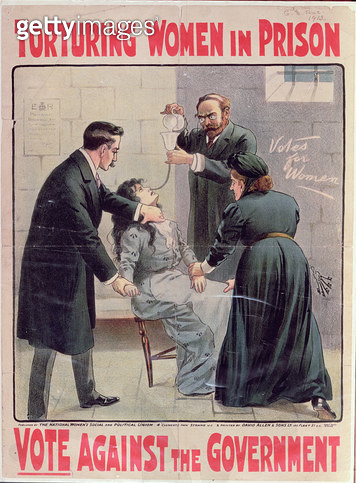 """Torturing Women in Prison - Vote Against the Government"" poster published by the National Women's Social and Political Union, printed by David Allen & Sons Ltd, 1913 (colour litho) - gettyimageskorea"