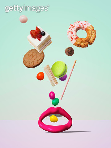 Sweets falling to the object of the mouth - gettyimageskorea