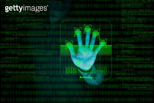 Businessman fingerprint scan provides security access with biometrics identification and password control through fingerprints - gettyimageskorea
