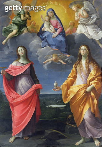 <b>Title</b> : Madonna and Child with St. Lucy and Mary Magdalene, called the Madonna of the Snow, c.1623 (oil on canvas)<br><b>Medium</b> : oil on canvas<br><b>Location</b> : Galleria degli Uffizi, Florence, Italy<br> - gettyimageskorea