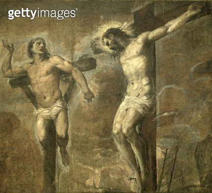 <b>Title</b> : Christ on the Cross and the Good Thief, c.1565 (oil on canvas)<br><b>Medium</b> : oil on canvas<br><b>Location</b> : Pinacoteca Nazionale, Bologna, Italy<br> - gettyimageskorea