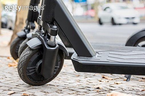 Close-Up Of Electric Push Scooter On Street - gettyimageskorea