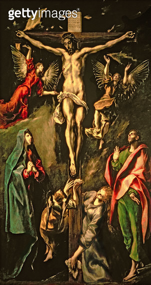<b>Title</b> : The Crucifixion, c.1584-1600 (oil on canvas)<br><b>Medium</b> : oil on canvas<br><b>Location</b> : Prado, Madrid, Spain<br> - gettyimageskorea