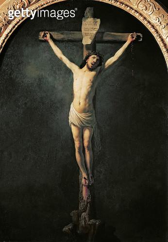 <b>Title</b> : Christ on the Cross (oil on canvas)<br><b>Medium</b> : oil on canvas<br><b>Location</b> : Eglise du Mas d'Agenais, France<br> - gettyimageskorea
