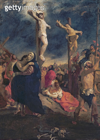 <b>Title</b> : Christ on the Cross, 1835 (oil on canvas)<br><b>Medium</b> : oil on canvas<br><b>Location</b> : Musee de la Cohue, Vannes, France<br> - gettyimageskorea
