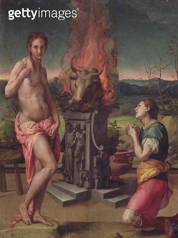 <b>Title</b> : Galatea and Pygmalion, c.1529 (oil on panel)<br><b>Medium</b> : oil on panel<br><b>Location</b> : Galleria degli Uffizi, Florence, Italy<br> - gettyimageskorea