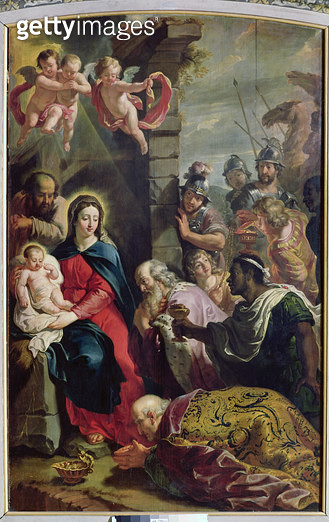 <b>Title</b> : Adoration of the Magi (oil on canvas)<br><b>Medium</b> : oil on canvas<br><b>Location</b> : Musee de Tesse, Le Mans, France<br> - gettyimageskorea