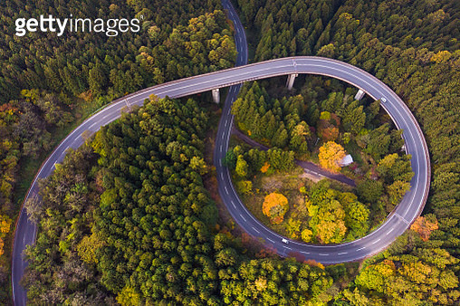 Drone view of curve road through Autumn forest on mountain - gettyimageskorea