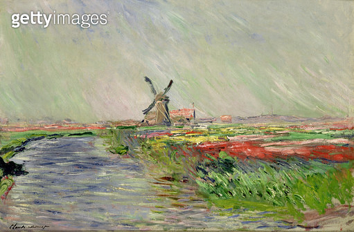 <b>Title</b> : Tulip Field in Holland (oil on canvas)<br><b>Medium</b> : oil on canvas<br><b>Location</b> : Musee Marmottan, Paris, France<br> - gettyimageskorea