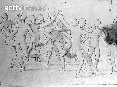 <b>Title</b> : Study for a Bacchanalia (pen & ink on paper) (b/w photo)<br><b>Medium</b> : pen and ink on paper<br><b>Location</b> : Bibliotheque des Beaux-Arts, Paris, France<br> - gettyimageskorea