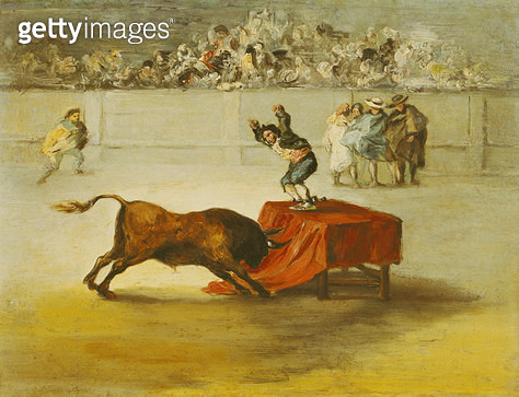 <b>Title</b> : Martincho's Other Folly in the Bull Ring at Saragossa, after a painting by Francisco Goya (1746-1828) (oil on canvas)<br><b>Medium</b> : oil on canvas<br><b>Location</b> : D. Manuel Iraysoz Collection, Cadiz, Spain<br> - gettyimageskorea