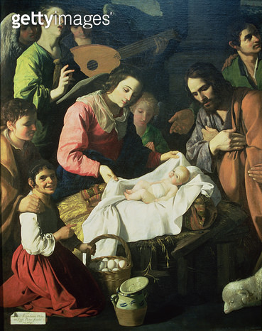 <b>Title</b> : Adoration of the Shepherds, 1638 (oil on canvas) (detail)<br><b>Medium</b> : <br><b>Location</b> : Musee de Grenoble, France<br> - gettyimageskorea