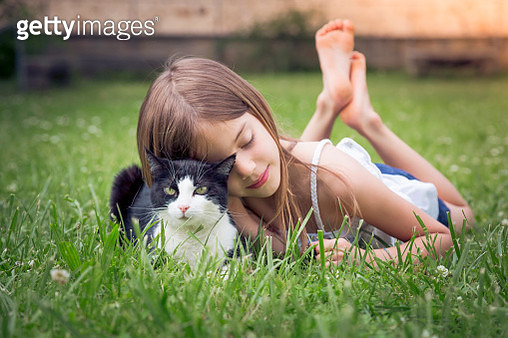 Little girl cuddling with cat on a meadow - gettyimageskorea