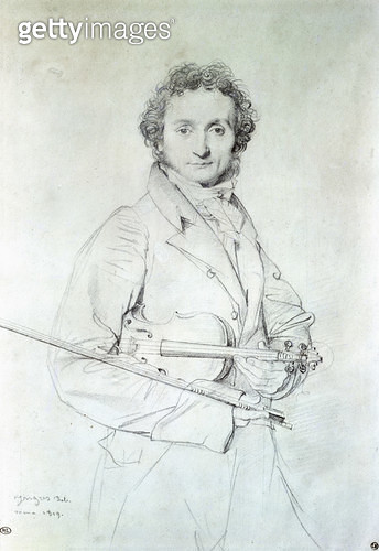 <b>Title</b> : Portrait of Niccolo Paganini (1782-1840) 1819 (pencil on paper)<br><b>Medium</b> : pencil on paper<br><b>Location</b> : Louvre, Paris, France<br> - gettyimageskorea