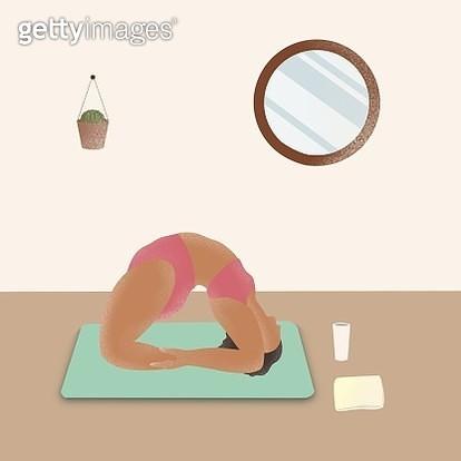 Yoga, plus size, body positive, yoga mat, indoor, room, health, women's rights, wellbeing - gettyimageskorea