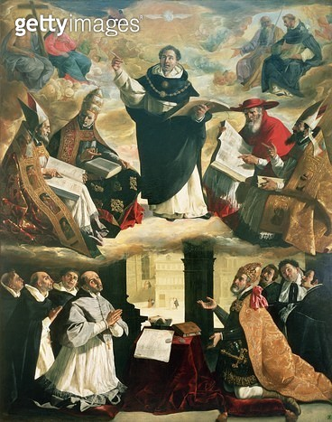 <b>Title</b> : The Apotheosis of St. Thomas Aquinas, 1631 (oil on canvas)<br><b>Medium</b> : oil on canvas<br><b>Location</b> : Museo de Bellas Artes, Seville, Spain<br> - gettyimageskorea