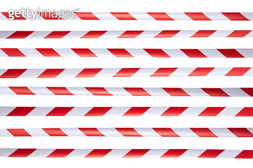 Red and White Striped Cordon Tape - gettyimageskorea