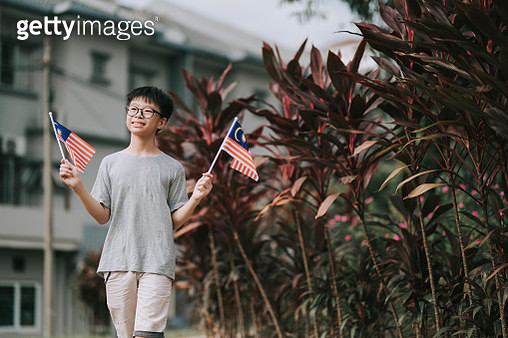 one asian chinese boy waving malaysia national flag in public park smiling - gettyimageskorea