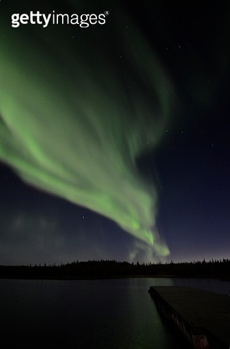 Summer Aurora Over Prosperous Lake - gettyimageskorea