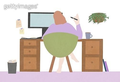 Freelance, freelancer, women, digitized pen, desktop, computer, desk, screen, working, home, indoor, confidence - gettyimageskorea