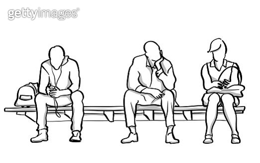 Three People Waiting Metro - gettyimageskorea