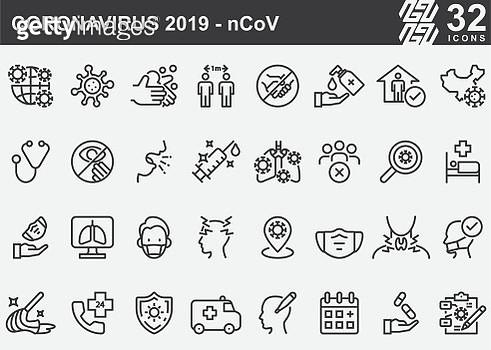 Coronavirus 2019-nCoV Disease Prevention Line Icons - gettyimageskorea