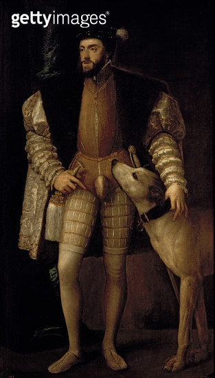<b>Title</b> : Charles V (1500-58) Holy Roman Emperor and King of Spain with his Dog, 1533 (oil on canvas)<br><b>Medium</b> : oil on canvas<br><b>Location</b> : Prado, Madrid, Spain<br> - gettyimageskorea