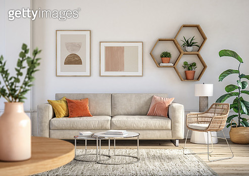 Bohemian living room interior 3d render with  beige colored furniture and wooden elements - gettyimageskorea