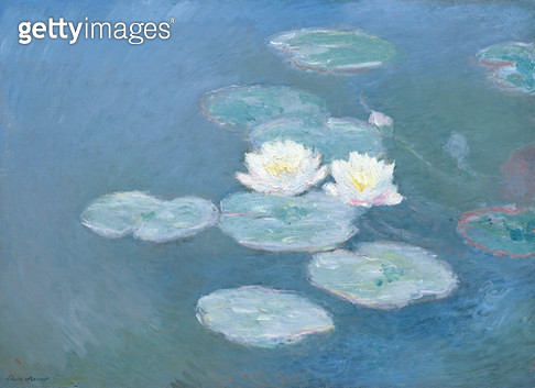 <b>Title</b> : Waterlilies, Evening (oil on canvas)<br><b>Medium</b> : oil on canvas<br><b>Location</b> : Musee Marmottan, Paris, France<br> - gettyimageskorea