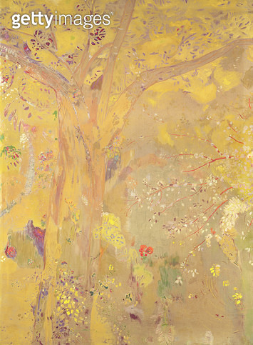 <b>Title</b> : Tree Against a Yellow Background (w/c on paper)<br><b>Medium</b> : watercolour on paper<br><b>Location</b> : Musee d'Orsay, Paris, France<br> - gettyimageskorea
