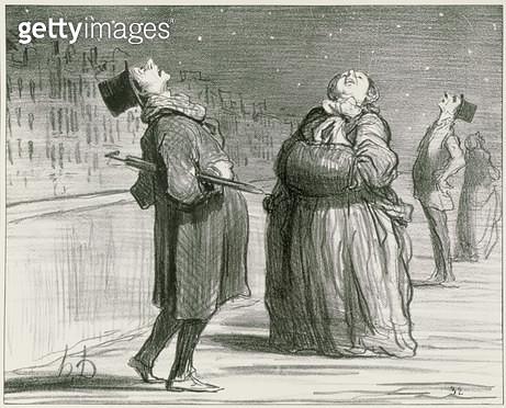 <b>Title</b> : Parisians Waiting for the Famous Comet, 1857 (litho) (b/w photo)<br><b>Medium</b> : lithograph<br><b>Location</b> : Marcel Lecomte Collection, Paris, France<br> - gettyimageskorea