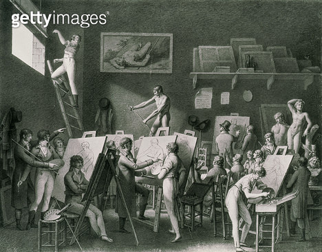<b>Title</b> : The Studio of Jacques Louis David (1748-1825) (pen & ink on paper) (b/w photo)<br><b>Medium</b> : lithograph<br><b>Location</b> : Musee de la Ville de Paris, Musee Carnavalet, Paris, France<br> - gettyimageskorea