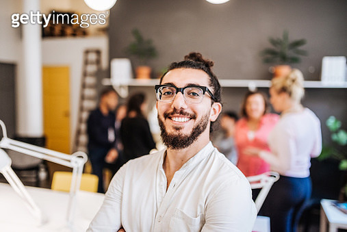 Successful casual Middle Eastern businessman in co-working space in Sweden - gettyimageskorea