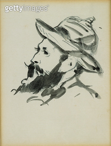 <b>Title</b> : Head of a Man (Claude Monet) 1874 (pen & ink wash on paper)<br><b>Medium</b> : pen and ink wash on paper<br><b>Location</b> : Musee Marmottan, Paris, France<br> - gettyimageskorea