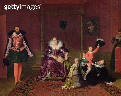 <b>Title</b> : Henri IV (1553-1610) King of France and Navarre Playing with his Children as the Ambassador of Spain Makes his Entrance, 1817 (o<br><b>Medium</b> : oil on canvas<br><b>Location</b> : Musee de la Ville de Paris, Musee du Petit-Palais, France - gettyimageskorea