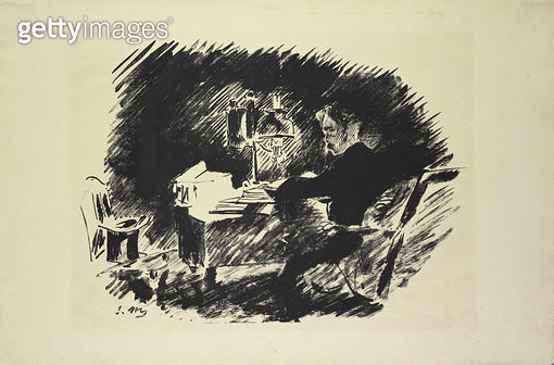 <b>Title</b> : Le Corbeau (The Raven), 1875 (litho)Additional Infoplate from a series of 5;<br><b>Medium</b> : lithograph<br><b>Location</b> : On Loan to the Hamburg Kunsthalle, Hamburg, Germany<br> - gettyimageskorea